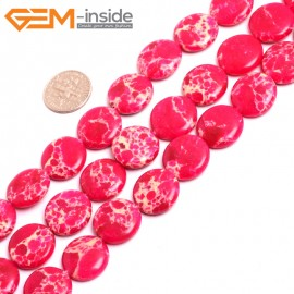 "G15379 16mm Coin Magenta  Sea Sediment Jasper Beads Dyed Color 15"" Beads for Jewelry Making Wholesale"