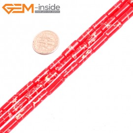 """G15386 4x14mm Column Red Sea Sediment Jasper Beads Dyed Color 15"""" Beads for Jewelry Making Wholesale"""