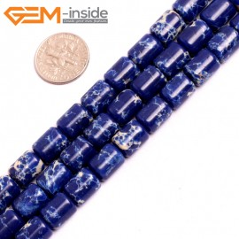 """G15401 8x12mm Drum Blue Lapis Sea Sediment Jasper Beads Dyed Color 15"""" Beads for Jewelry Making Wholesale"""