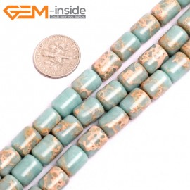 """G15403 8x12mm Drum Light Blue Sea Sediment Jasper Beads Dyed Color 15"""" Beads for Jewelry Making Wholesale"""
