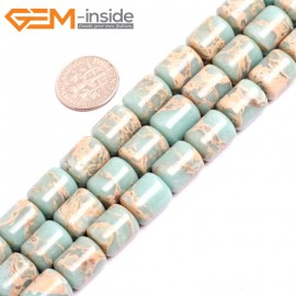 """G15408 10x12mm Drum Light Blue Sea Sediment Jasper Beads Dyed Color 15"""" Beads for Jewelry Making Wholesale"""