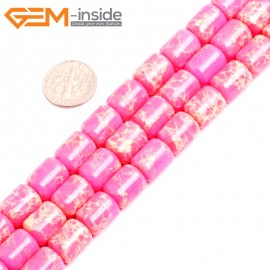 """G15409 10x12mm Drum Pink Sea Sediment Jasper Beads Dyed Gemstone 15"""" Stone Beads for Jewelry Making Wholesale"""