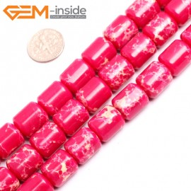 "G15419 12x14mm Drum Magenta Sea Sediment Jasper Beads Dyed Color 15"" Beads for Jewelry Making Wholesale"