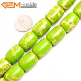 "G15425 13x18mm Drum Apple Green Sea Sediment Jasper Beads Dyed Color 15"" Beads for Jewelry Making Wholesale"