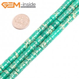 "G15428 4x6mm Column Dark Green Sea Sediment Jasper Beads Dyed Color 15"" Beads for Jewelry Making Wholesale"