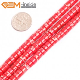 """G15433 4x6mm Column Red Sea Sediment Jasper Beads Dyed Color 15"""" Beads for Jewelry Making Wholesale"""