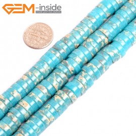 """G15443 4x10mm Column Turquoise Blue Sea Sediment Jasper Beads Dyed Color 15 """" Beads for Jewelry Making Wholesale"""