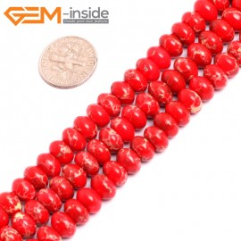 """G15464 5x8mm Rondelle Red Sea Sediment Jasper Beads Dyed Color 15 """" Beads for Jewelry Making Wholesale"""