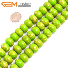 """G15470 10x14mm Rondelle Apple Green Sea Sediment Jasper Beads Dyed Color 15 """" Beads for Jewelry Making Wholesale"""