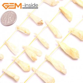 "G15503 8X10-8X20mm Drop Crude Rough Yellow Raw Quartz Crystal Amethyst Gemstone Strand 15"" Stone Beads for Jewelry Making Wholesale"