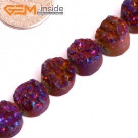 "G15521 10mm Coin Crude Rough Cabochon Metallic Titanium Purple Drusy Druz Quartz Crystal Amethyst Gemstone Strand 8"" Stone Beads for Jewelry Making Wholesale"