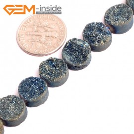 "G15524 10mm Coin Crude Rough Cabochon Metallic Titanium Blue Drusy Druz Quartz Crystal Amethyst Gemstone Strand 8"" Stone Beads for Jewelry Making Wholesale"