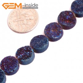 "G1552810mm Coin Crude Rough Cabochon Metallic Titanium Dark Blue Drusy Druz Quartz Crystal Amethyst Gemstone Strand 8"" Stone Beads for Jewelry Making Wholesale"