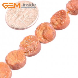 "G1552910mm Coin Crude Rough Cabochon Metallic Titanium Orange Drusy Druz Quartz Crystal Amethyst Gemstone Strand 8"" Stone Beads for Jewelry Making Wholesale"