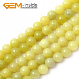 "G1552 6mm Natural Round Lemon Stone Beads Jewelry Making Gemstone Loose Beads Strand 15"" Natural Stone Beads for Jewelry Making Wholesale"