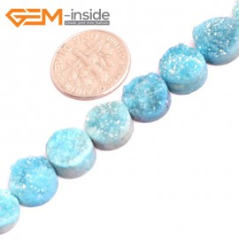 "G15531 10mm Coin Crude Rough Cabochon Metallic Titanium Light Blue Drusy Druz Quartz Crystal Amethyst Gemstone Strand 8"" Stone Beads for Jewelry Making Wholesale"