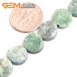 "G15532 10mm Coin Crude Rough Cabochon Metallic Titanium Light Green Drusy Druz Quartz Crystal Amethyst Gemstone Strand 8"" Stone Beads for Jewelry Making Wholesale"