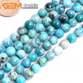 "G15534 6mm Round Blue Natural Hemimorphite Gemstone Strand 15"" Natural Stone Beads for Jewelry Making Wholesale"
