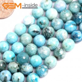 "G15535 8mm Round Blue Natural Hemimorphite Gemstone Strand 15"" Natural Stone Beads for Jewelry Making Wholesale"