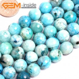 "G15536 10mm Round Blue Natural Hemimorphite Gemstone Strand 15"" Natural Stone Beads for Jewelry Making Wholesale"