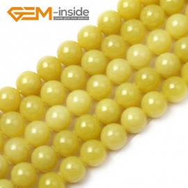 "G1554 10mm Natural Round Lemon Stone Beads Jewelry Making Gemstone Loose Beads Strand 15"" Natural Stone Beads for Jewelry Making Wholesale"