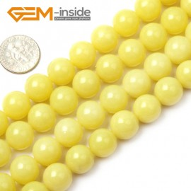 "G1555 12mm Natural Round Lemon Stone Beads Jewelry Making Gemstone Loose Beads Strand 15"" Natural Stone Beads for Jewelry Making Wholesale"