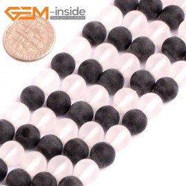 "G15567 8mm Round Natual White Black Frosted Matte Agate Gemstone Strand 15"" Natural Stone Beads for Jewelry Making Wholesale"