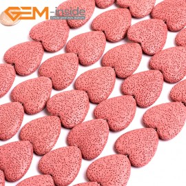 "G15576  27mm Heart  Light Red Lave Rock Gemstone Strand 15"" Stone Beads for Jewelry Making Wholesale"