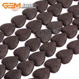 """G15580  27mm Heart Black Lave Rock Gemstone Strand 15"""" Stone Beads for Jewelry Making Wholesale"""