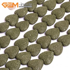 "G15582  27mm Heart  Army Green Lave Rock Gemstone Strand 15"" Stone Beads for Jewelry Making Wholesale"