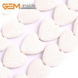 """G15585  27mm Heart White Lave Rock Gemstone Strand 15"""" Stone Beads for Jewelry Making Wholesale"""