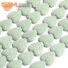"""G15586  27mm Heart Light Green Lave Rock Gemstone Strand 15"""" Stone Beads for Jewelry Making Wholesale"""