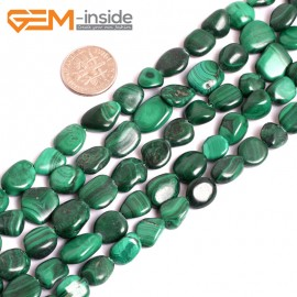 "G15590  10x12mm Potato Freefrom Malachite Gemstone Strand 15"" Natural Stone Beads for Jewelry Making Wholesale"