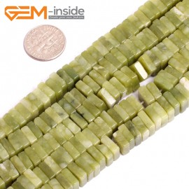 "G15604  3x8mm Natural Nephrite huashow Jade Square Heshi Space Beads Gemstone Strand 15"" Natural Stone Beads for Jewelry Making Wholesale"