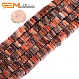 "G15606  3x8mm Red Rhodonite Square Heshi Space Beads Gemstone Strand 15"" Natural Stone Beads for Jewelry Making Wholesale"