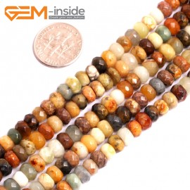 "G15620 4x6mm Smooth Rondelle Mutil-Color Natural Nephrite huashow Jade Beads Gemstone Strand 15"" Natural Stone Beads for Jewelry Making Wholesale"
