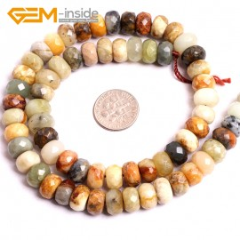 "G15614 6x10mm Faceted Rondelle Mutil-Color Natural Nephrite huashow Jade Beads Gemstone Strand 15"" Natural Stone Beads for Jewelry Making Wholesale"