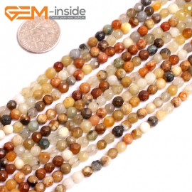 "G15615 4mm Round Faceted Mutil-Color Natural Nephrite huashow Jade Beads Gemstone Strand 15"" Natural Stone Beads for Jewelry Making Wholesale"