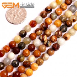 "G15616 6mm Round Faceted Mutil-Color Natural Nephrite huashow Jade Beads Gemstone Strand 15"" Natural Stone Beads for Jewelry Making Wholesale"
