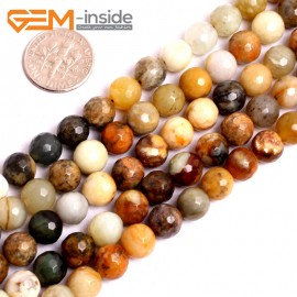 "G15617 8mm Round Faceted Mutil-Color Natural Nephrite huashow Jade Beads Gemstone Strand 15"" Natural Stone Beads for Jewelry Making Wholesale"