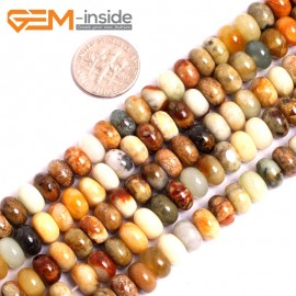 "G15621 5x8mm Smooth Rondelle Mutil-Color Natural Nephrite huashow Jade Beads Gemstone Strand 15"" Natural Stone Beads for Jewelry Making Wholesale"