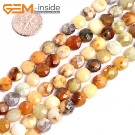 """G15623 8mm Coin Mutil-Color Natural Nephrite huashow Jade Beads Gemstone Strand 15"""" Natural Stone Beads for Jewelry Making Wholesale"""