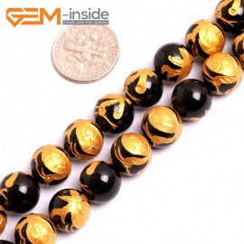 """G15636 10mm Round Natural Onyx  Black  Agate Carved  Golden Xuanwu Tortoise Buddha Mala Lucky Stone Strand 15"""" Natural Stone Beads for Jewelry Making Wholesale"""