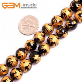 """G15637 10mm Round Natural Onyx  Black  Agate Carved  Golden QingLong Dragon Buddha Mala Lucky Stone Strand 15"""" Natural Stone Beads for Jewelry Making Wholesale"""