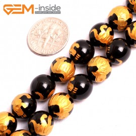 """G15638 10mm Round Natural Onyx  Black  Agate Carved Golden Baihu Tiger Buddha Mala Lucky Stone Strand 15"""" Natural Stone Beads for Jewelry Making Wholesale"""