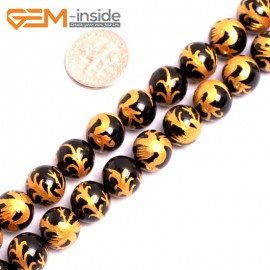 """G15639 10mm Round Natural Onyx  Black  Agate Carved Golden ZhuQue Phonix Buddha Mala Lucky Stone Strand 15"""" Natural Stone Beads for Jewelry Making Wholesale"""