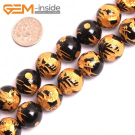 """G15640 14mm Round Natural Onyx Black Agate Carved Golden QingLong Dragon Buddha Mala Lucky Stone Strand 15"""" Natural Stone Beads for Jewelry Making Wholesale"""