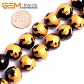 """G15641 14mm Round Natural Onyx Black Agate Carved Golden Baihu Tiger Buddha Mala Lucky Stone Strand 15"""" Natural Stone Beads for Jewelry Making Wholesale"""