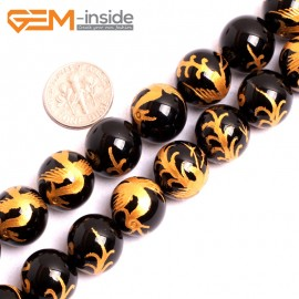 """G15642 14mm Round Natural Onyx Black Agate Carved Golden ZhuQue Phonix Buddha Mala Lucky Stone Strand 15"""" Natural Stone Beads for Jewelry Making Wholesale"""