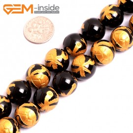 """G15643 14mm Round Natural Onyx  Black  Agate Carved  Golden Xuanwu Tortoise Buddha Mala Lucky Stone Strand 15"""" Natural Stone Beads for Jewelry Making Wholesale"""
